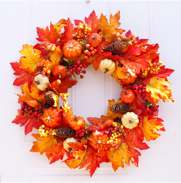 Mylb 60cm Rattan Berry Maple Leaf Fall Door Wreath Door Wall Ornament Halloween