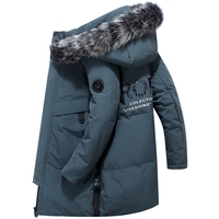 40 Celsius Deep Winter 80% White Duck Down Jacket Men Real Fur Collar Thicken Outwear Waterproof Long Down Coat Men Overcoat