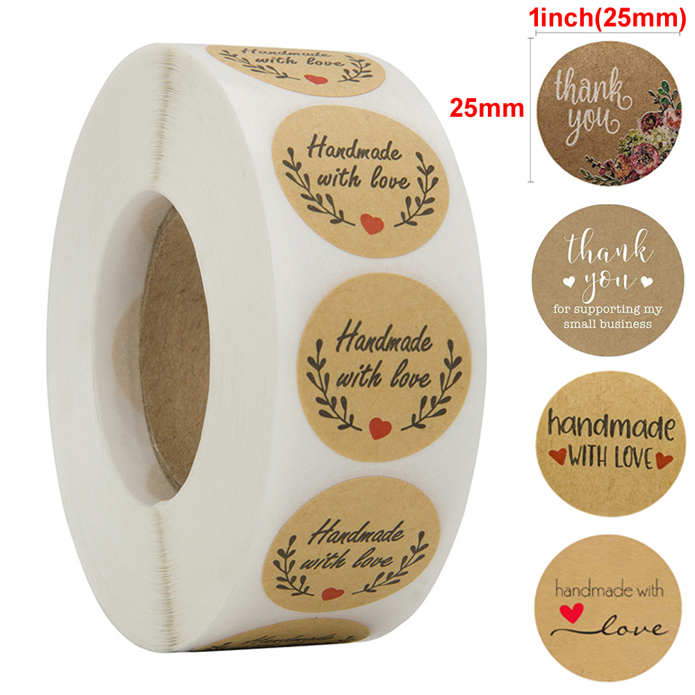 500 Labels Per Roll Round Natural Thank You Kraft Sticker Seal Labels Hand Made Paper Sticker Stationery Sticker Baking Sticker