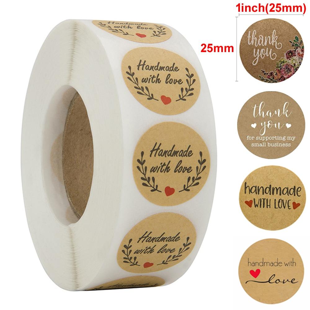 500 Labels Per Roll Round Natural Thank You Kraft Sticker Seal Labels Hand Made Paper Sticker Stationery Sticker Baking Sticker