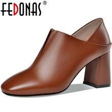 FEDONAS Single Concise Genuine Leather Women Shoes Elegant S