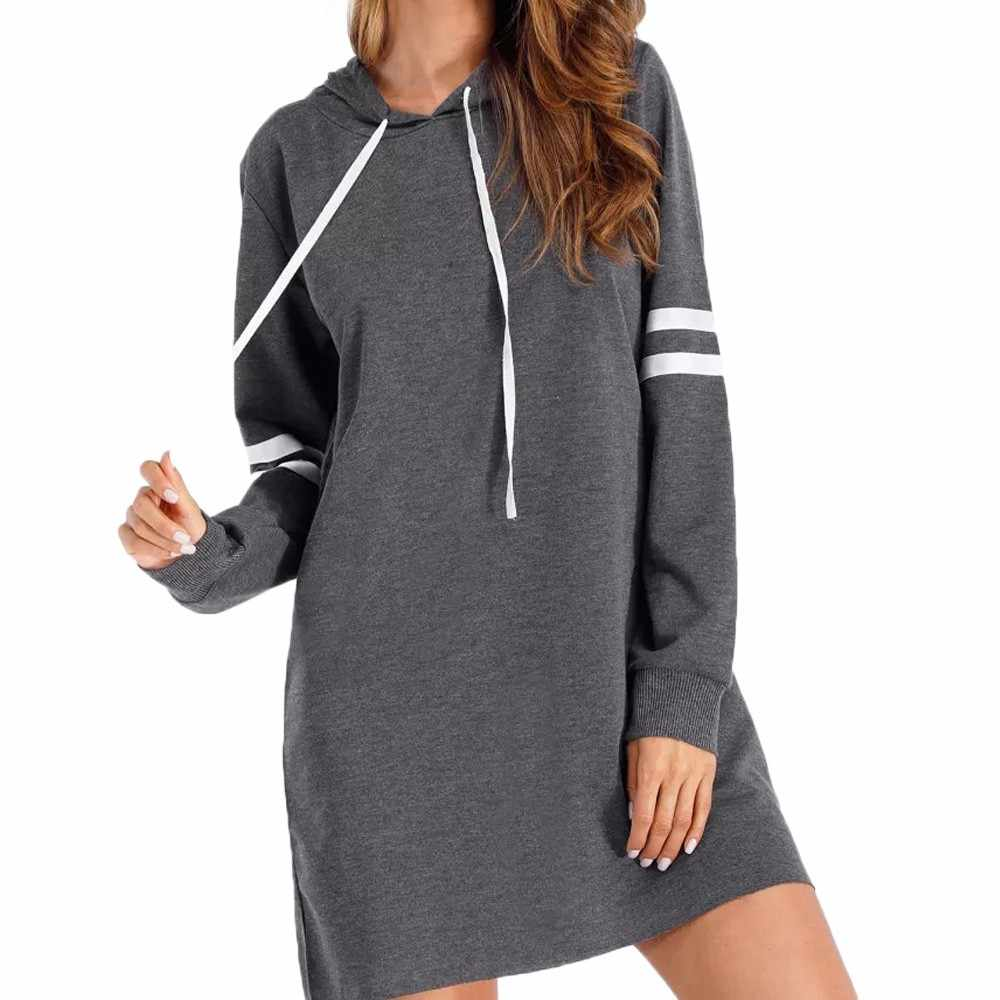 Vestido Mujer moda nueva manga larga Sudadera con capucha Jersey largo mini vestidos de alta calidad ropa de otoño para mujer