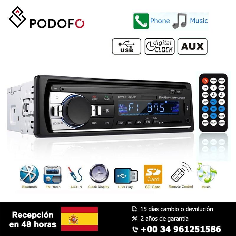 Podofo 1 Din Estéreo rádio Do Carro de Controle Remoto Digital De Música de Áudio Bluetooth 12V Mp3 Jogador USB/SD/ AUX-IN