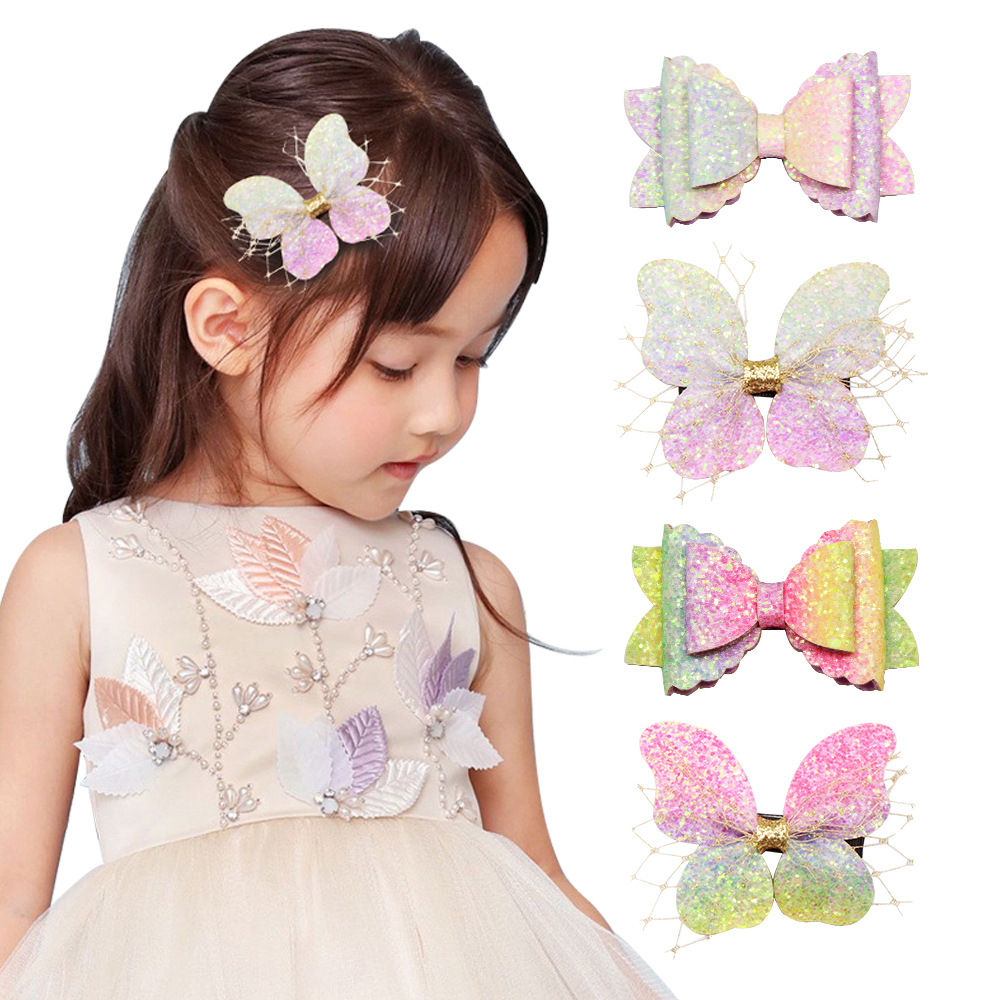Ncmama Hair Accessories Colorful Glitter Butterfly Hair Bows For Girls Boutique Handmade Barrettes For Kids Hairpins Hair Clips