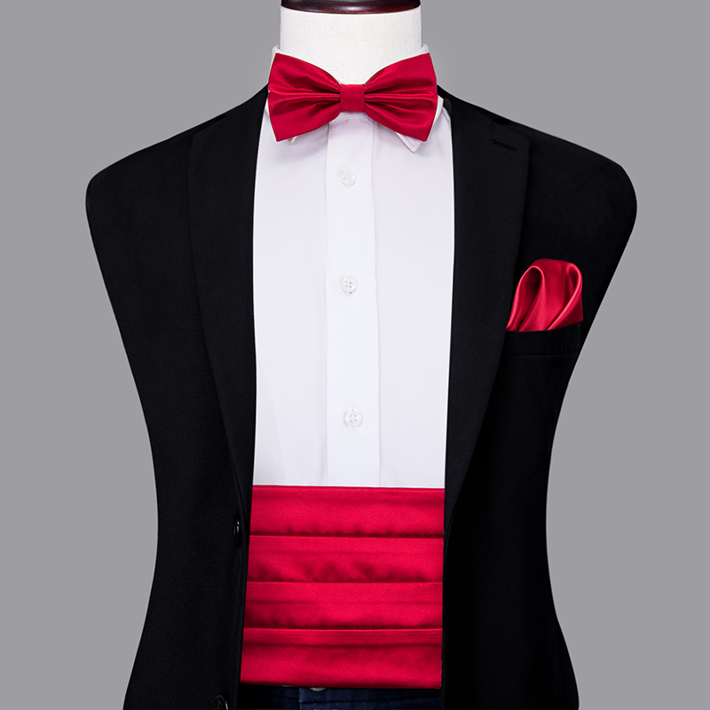 YF-2005 Hi-Tie Fashion Wedding Party Red Cummerbund For Men Silk Adjustable Wide Belt Cummerbund Elastic Solid