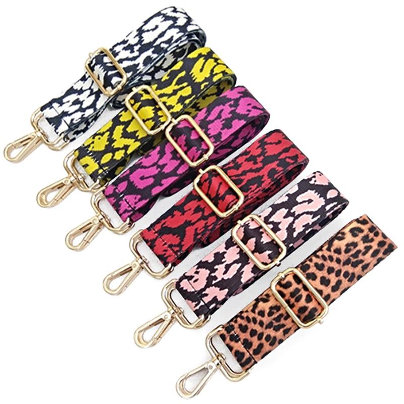 Women DIY Bag Strap Handbag Belt Wide Shoulder Bag Strap Replacement Strap Accessory Bag Part Adjustable Belt Bags Leopard Red