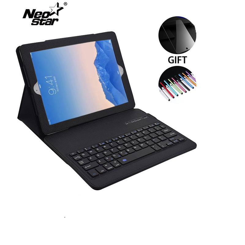 Case For iPad Air 2 For iPad 5 6 Removable Wireless Bluetooth Keyboard Leather Case Stand With Screen Protecter Stylus Pen