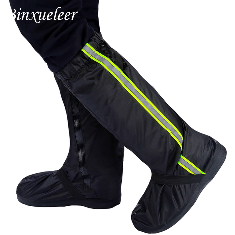 Unisex Fluorescent Rain Shoes Cover Boots Reusable Rain Cover For Shoes Waterproof Motorcycle Rain Shoes Cover Non Slip Boots