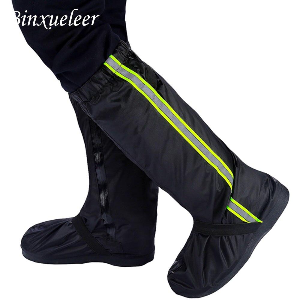 Unisex fluorescente chuva sapatos capa botas reutilizáveis capa de chuva para sapatos à prova dwaterproof água da motocicleta sapatos de chuva capa não deslizamento botas