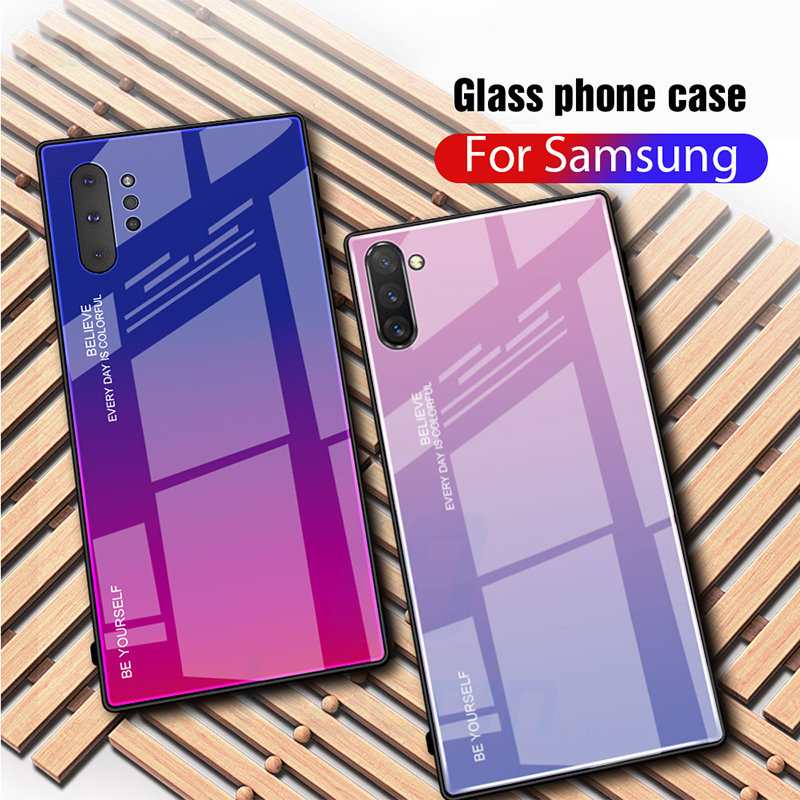 Tempered Glass Case For Samsung Galaxy Note 10 Plus Case Gradient Hard Bumper Cover For Samsung Note 10 Case Protective Coque in Fitted Cases from Cellphones Telecommunications