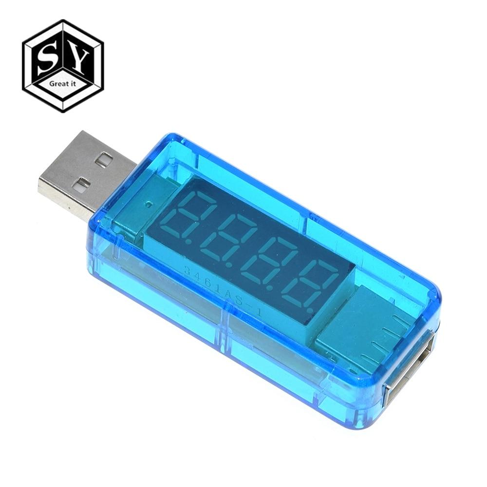 1PCS Digital USB Mobile Power Charging Current Voltage Tester Meter Mini USB Charger Doctor Voltmeter Ammeter Straight Blue