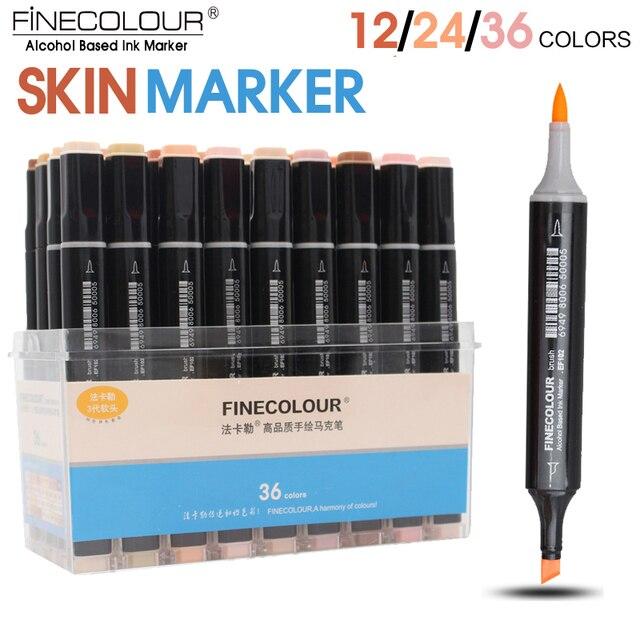 FINECOLOUR 12/24/36 kolor skóry kolor mazak zestaw podwójna głowica na bazie alkoholu szkic Marker dla Cartoon projekt Anime dostaw