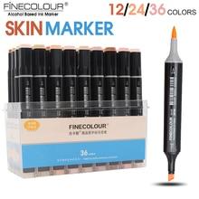 FINECOLOUR 12/24/36 צבע עור צבע מברשת מרקר סט כפול ראש אלכוהול מבוסס סקיצה מרקר עבור קריקטורה אנימה עיצוב ספקי