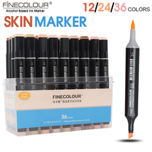 FINECOLOUR 12/24/36Color Skin Color Brush Marker Set Dual Head Alcohol Based Sketch Marker for Cartoon Anime Design Supplies