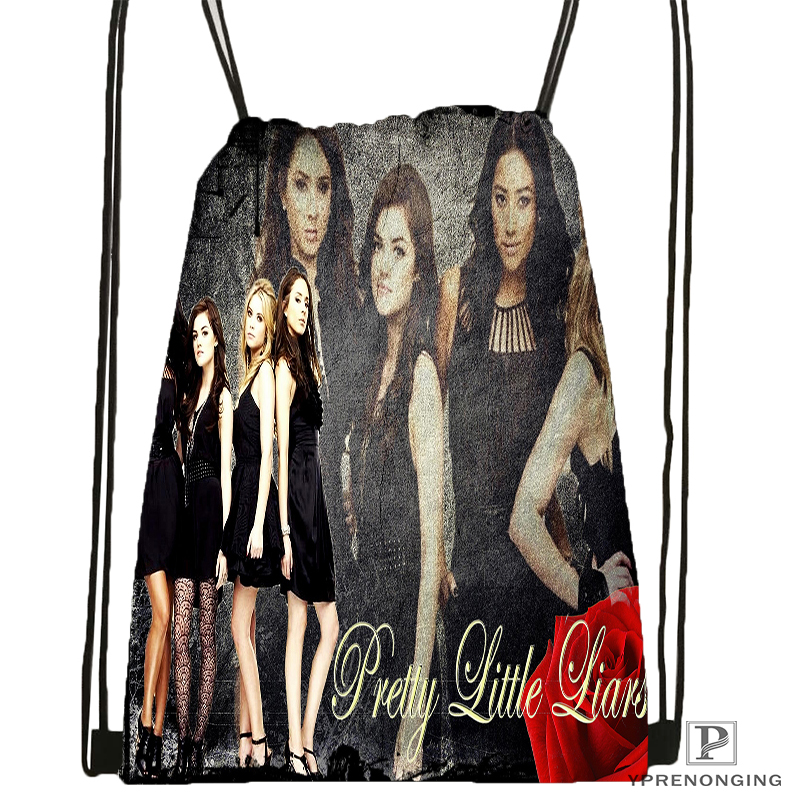 Custom Pretty Little Liars Drawstring Backpack Bag Cute Daypack Kids Satchel (Black Back) 31x40cm#180531-02-57