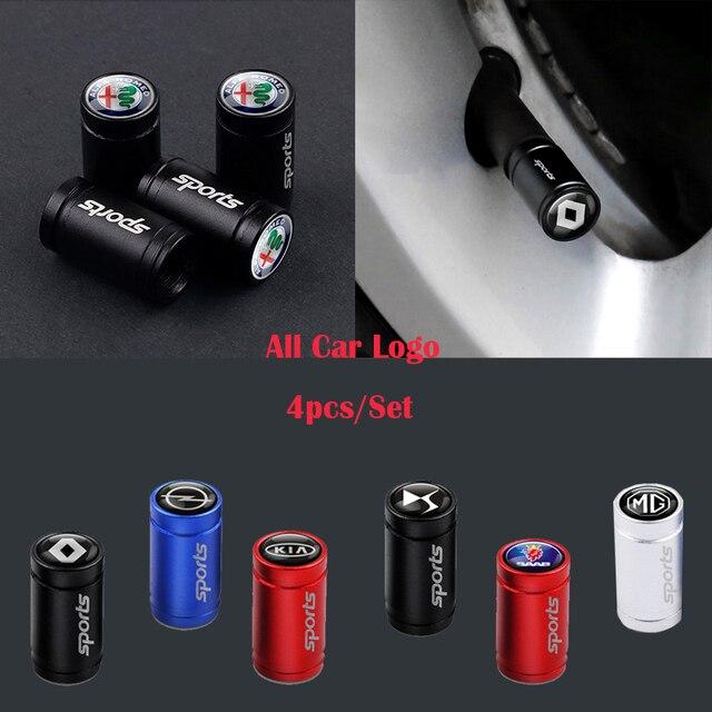 For Volvo Rdesign XC90 S60 XC60 V70 S80 S40 V50 V40 V60 C30 S70 Car Styling 4Pcs Sports Emblem Wheel Tire Valve Caps Stem Case