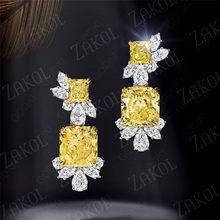 Zakol na moda geométrica grande suqare amarelo zircão cúbico cristal balançar brincos para mulher jóias de noiva aretes de mujer modernos
