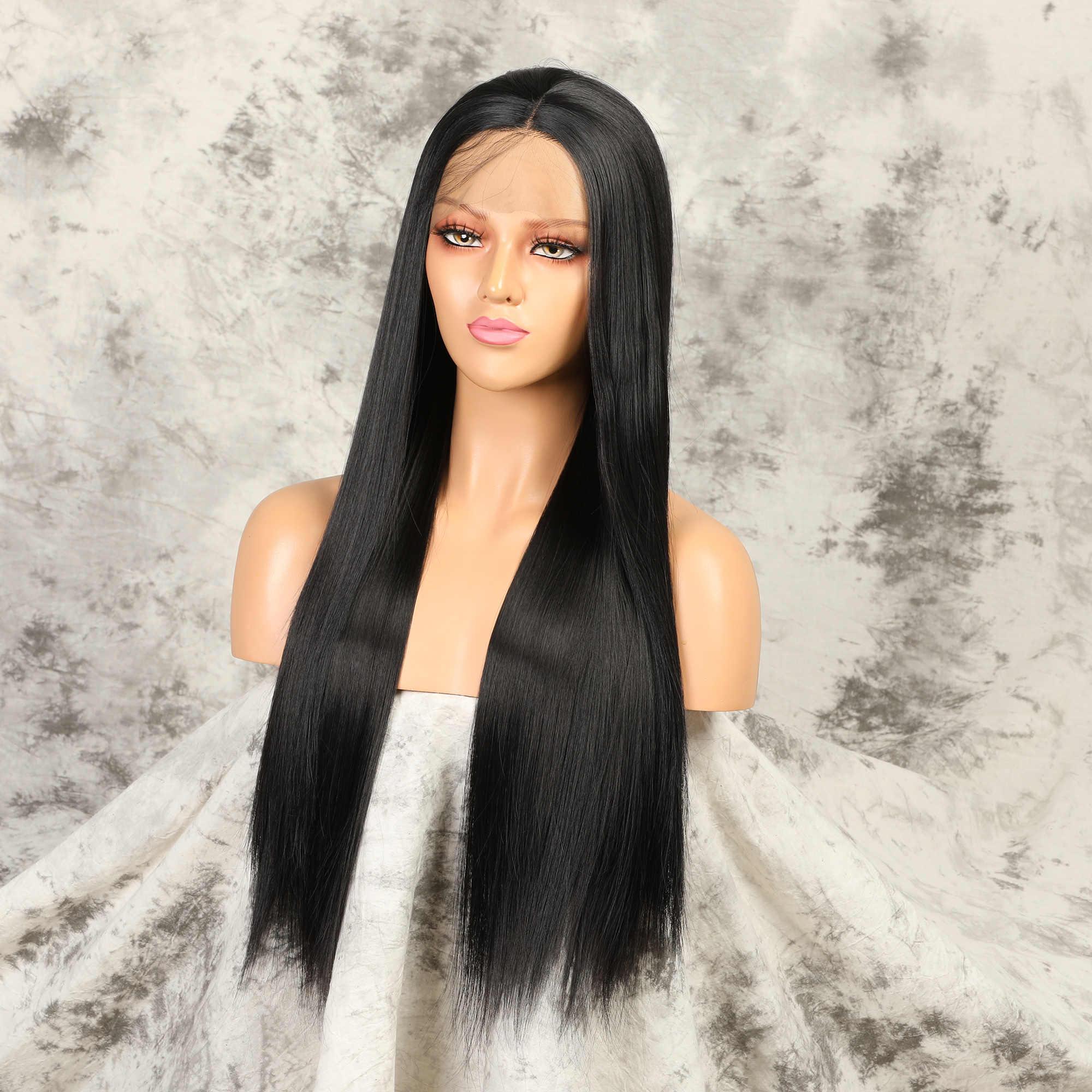 Pelucas de encaje frontal, pelucas sintéticas largas rectas para mujeres negras, peluca recta negra de densidad Natural, peluca de pelo de fibra resistente al calor