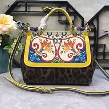 Famous Brand Premium Luxury Lady Bag Flower Print Platinum Tote Genuine Cow Leather Leopard Clamshell Handbag Women Shoulder