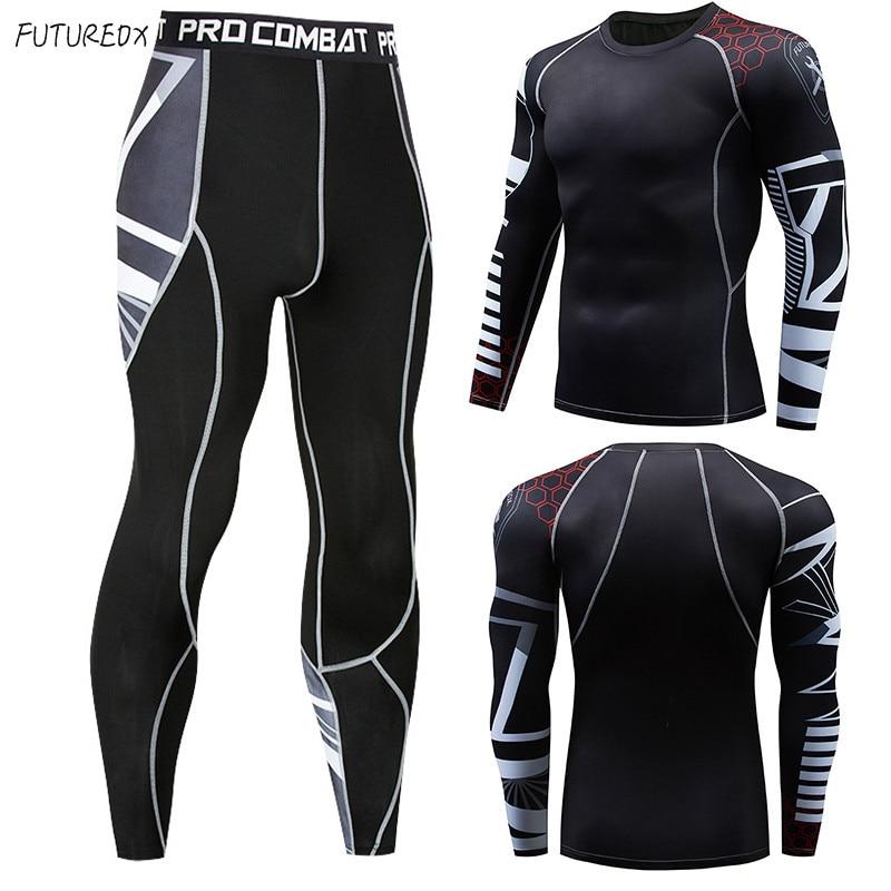 Men's T-shirt Fitness Exercise Jacket Warm Shirt Quick-drying Sportswear MMA Men's Compression Long-sleeved Rashgard Men's Suit