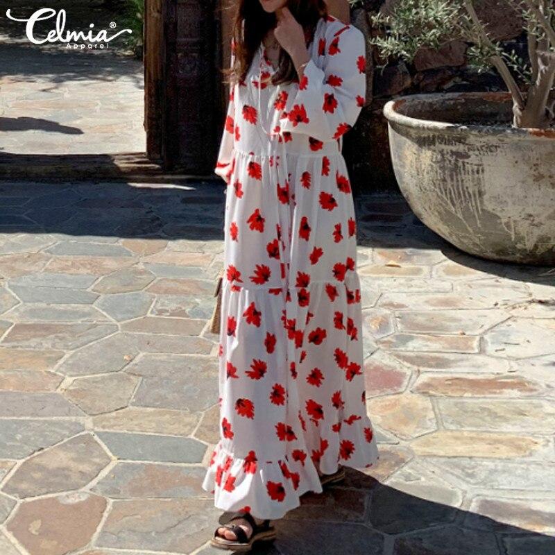 Plus Size Women's Sundress Celmia 2019 Lace Up Long Sleeve Casual Loose Ruffled Bohemian Floral Print Long Vestidos Robe Femme