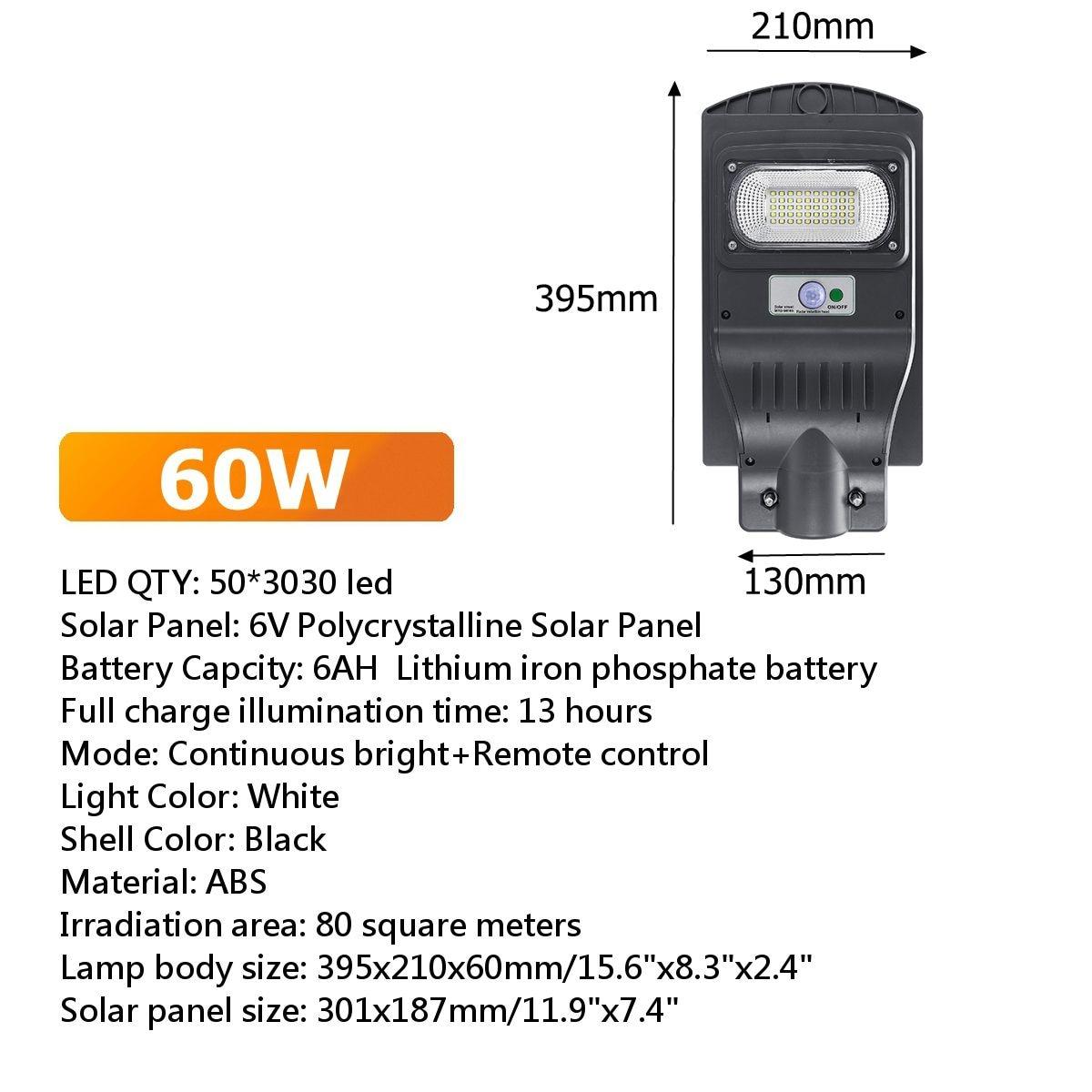 Farola con energía solar encendido automático por movimiento, potencia 60W, 90W, 150W