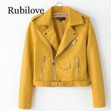Rubilove 2019 Spring Bright Yellow Women PU Leather Jackets Zipper Coat Turn-down Collar Female Black