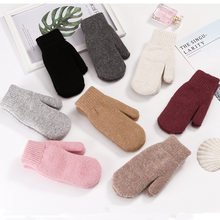 Female Gloves Hot Sale Fashion Women Girl Winter Gloves Pure Color Rabbit Fur Mittens Soft Warm Candy Color Double Layer(China)