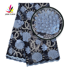 Guipure Lace Latest Swiss Cotton Guipure Applique Dentelle 2019 Blue Embroidery Lace Fabric Wedding Dress with Stones Sequence guipure lace splicing openwork blouse