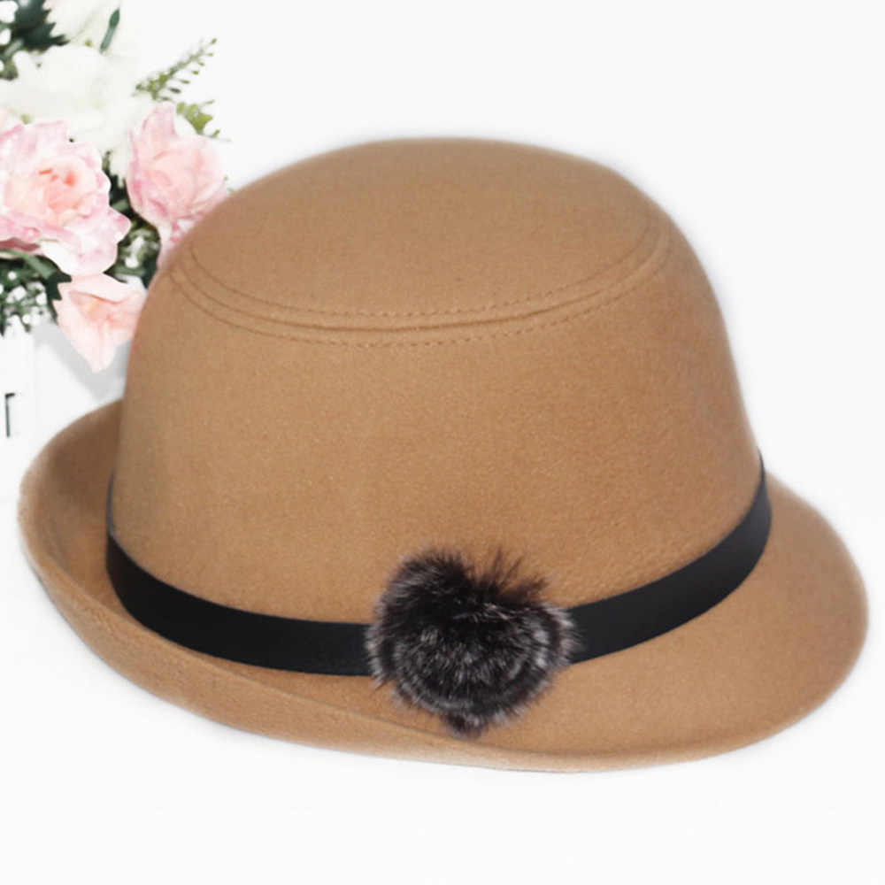 Merek Baru Trendi Wanita Topi untuk Musim Gugur Musim Dingin Fedoras Topi Solid Topi Fedora Wanita Formal Wol Merasa Bowler Topi topi