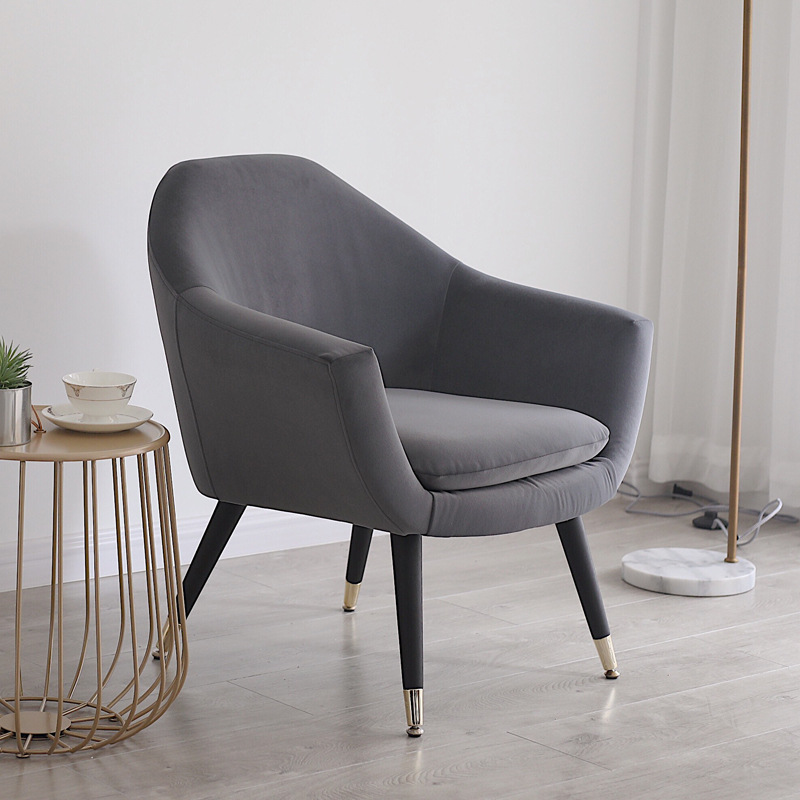 Velvet Accent Chairs Soft Padded Armchair with Wooden Legs Home Office Reception Chair Single Sofa Living Room Bedroom Modern