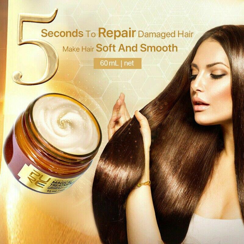 60ML PURE Hair Mask Treatment Magical Moisturizing Damage Dry Hair Scalp Cream Repair 5 Second Hair Treatment