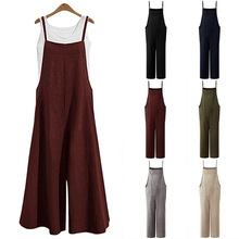 2021 Women Fashion Sleeveless Straps Jumpsuits Summer Wide Leg Trousers Solid Loose Rompers Ladies Casual Long Pants Overalls
