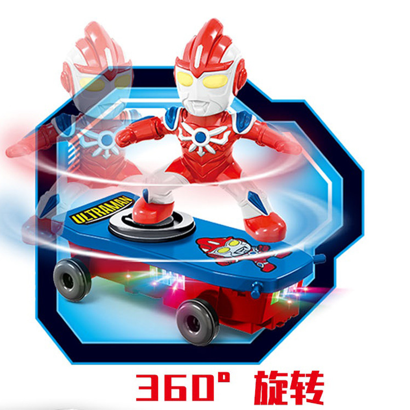 Spider-Man Douyin Celebrity Style Stunt Scooter Electric Universal Rotating Roll Music Lights Children Cartoon Toys