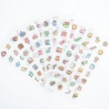 6 Peças/saco. Vida criativa pequena etiqueta transparente adesivo criança papelaria dos desenhos animados decoração diy adesivo scrapbook diário presente