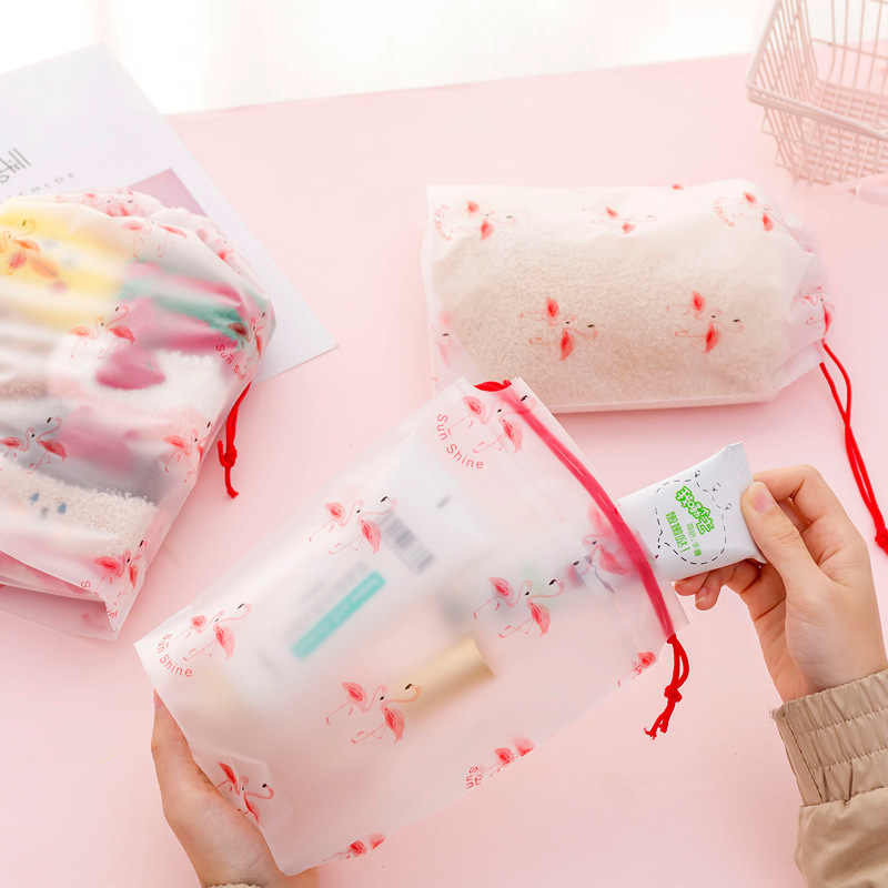 Flamingos Transparent Peeling Kosmetik Tasche Reise Make-Up Fall Frauen String Machen Up Bad Organizer Lagerung Wasserdichte Beutel