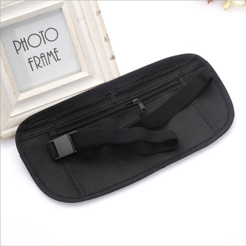 Adjustable Nylon Waist Belt Bag Travel Pouch For Hidden ID Passport Security Money Compact Safety Slim Secret For Men Women