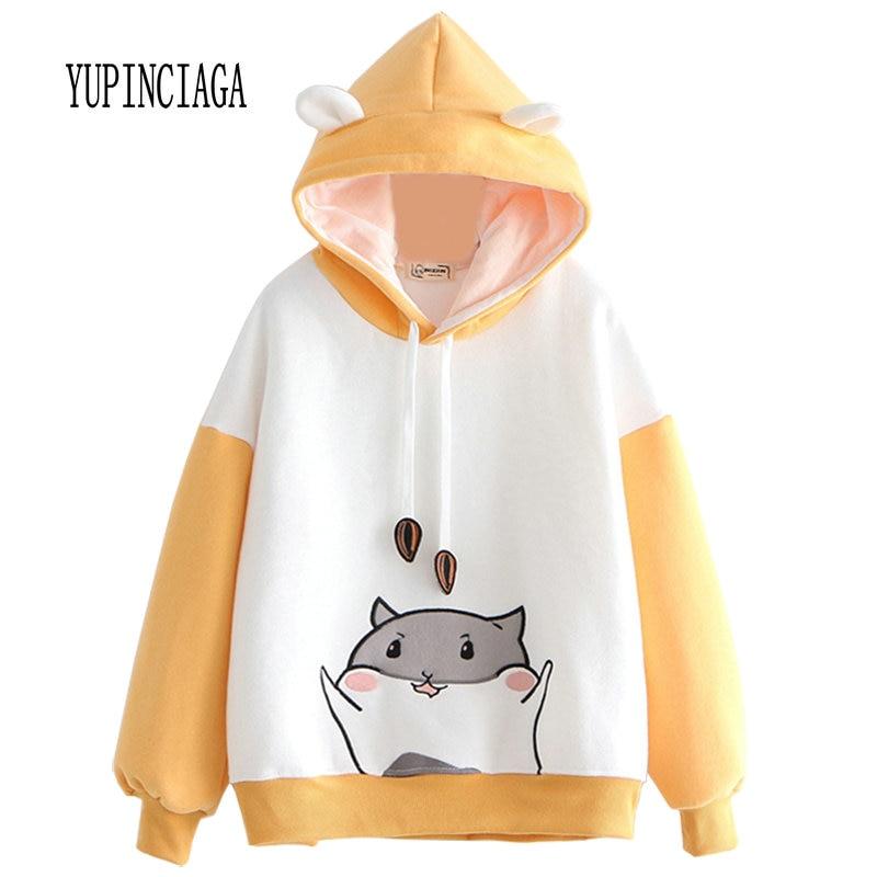 YUPINCIAGA Embroidery Hit Color Sweatshirts Women Hamster Hooded Warm Pullovers With Horns Harajuku Hooded Girls Teens Hoodies