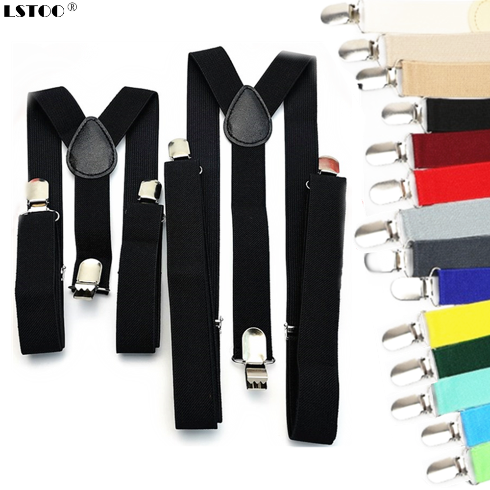 Solid Color Unisex Children Adult Suspenders Men Women Boys Girls Elastic Adjustable Kids Braces Accessories 5 Sizes Parent-Kids