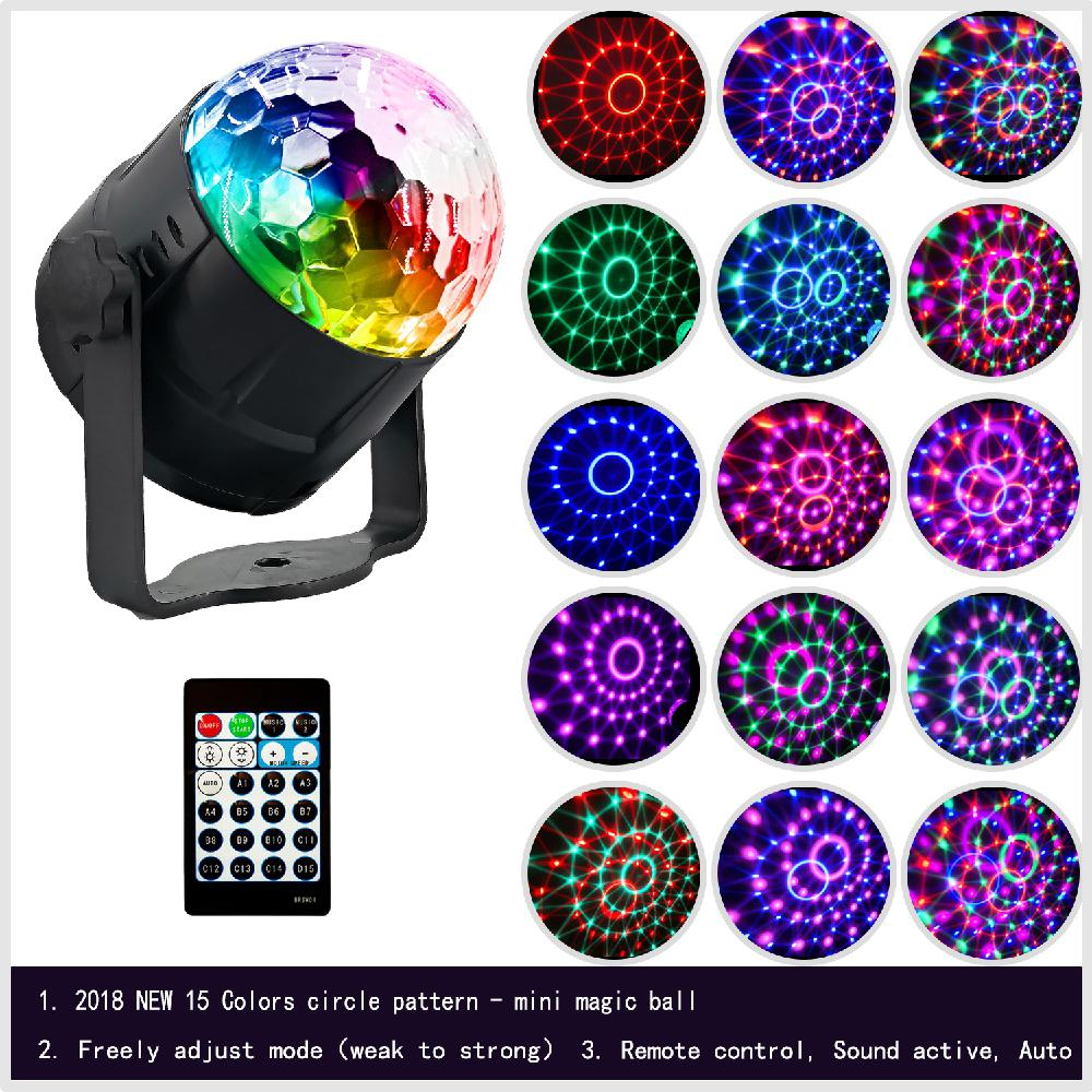 LED 15 Colors RGB Sound Activated Mini Magic Ball Light With Remote Controller For Bar DJ Disco Party Club Light