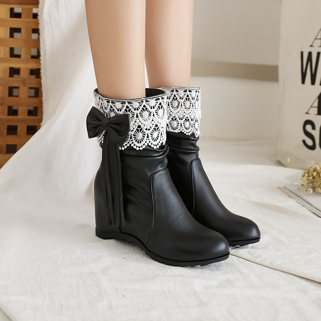 2020 Autumn Winter Princess Lolita Boots Girls Fashion Lace Hem JK Cosplay Party Shoes Female Bow Tassel Increased Inner Heel