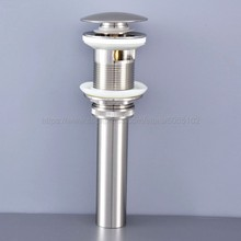 цена на Brushed Nickel Bathroom Lavatory Faucet Vessel Vanity Sink Pop Up Drain Stopper With Overflow Accessories zsd071