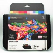Conjunto de marcadores de 24 cores winsor & newton promarker