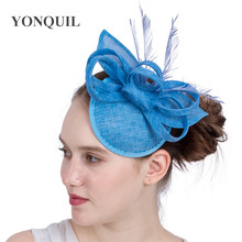 Light Blue Bridal Wedding Hat Fascinator Derby Imitation Sinamay Hat Feather Headwear Summer Church Hats New Arrival Multicolors