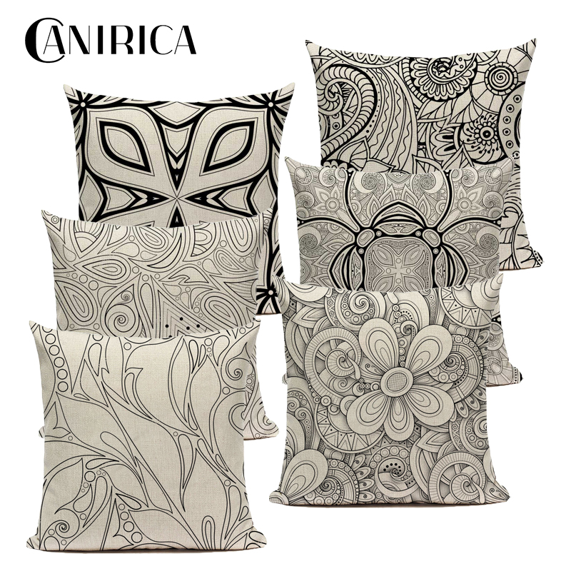 Pillow Cover 45*45 Floral Cushion Cover For Living Room Decorative Pillows Bedroom Decoration Funda Cojin Vintage Home Decor