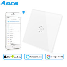 Wifi Smart Wall Touch Switch EU Socket 1 Gang Glass Panel APP Remote Control work with Google Home and Alexa for Smart Life lemaic wifi smart switch waterproof touch panel w app remote control amazon alexa google home timing function for eu plug