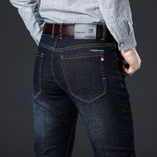 Весна-Осень, новые мужские эластичные хлопковые Стрейчевые джинсы, свободные джинсовые брюки, мужские брендовые модные большие размеры 38, 40, 42