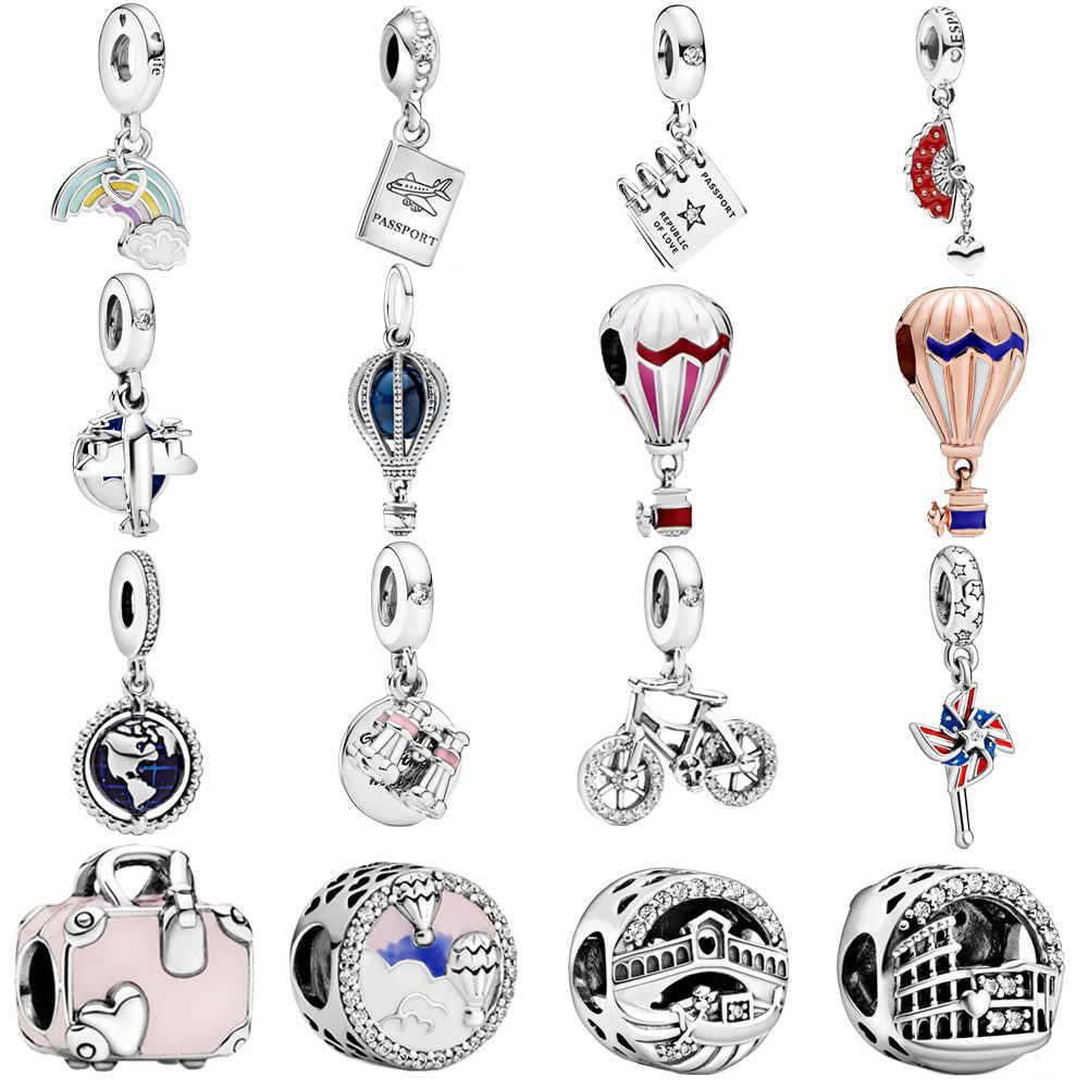 Hot Sale 925 Sterling Silver Travel Series Charms Beads Fit Original Pandora Charm Bracelets Women Diy Jewelry Making Gift Beads Aliexpress