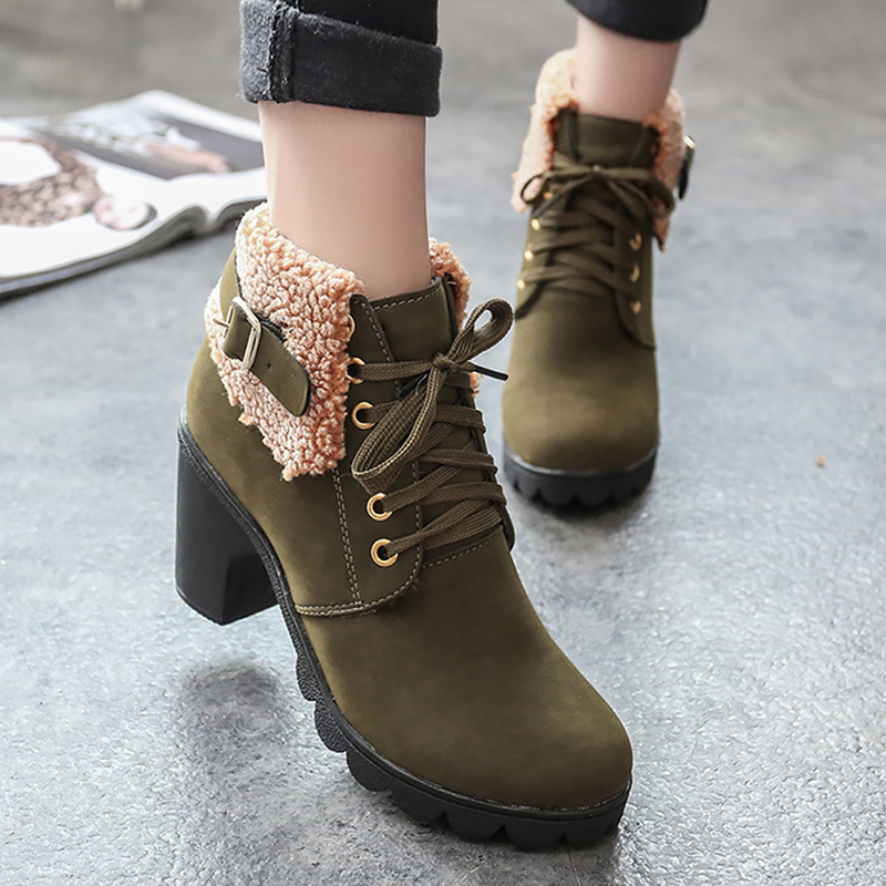 Winter Woman Boots High Heels Fashion Buckle Cozy Ankle Boots For Women Lace Up Fur Boots Women Solid TPR Rubber Shoes Woman in Ankle Boots from Shoes