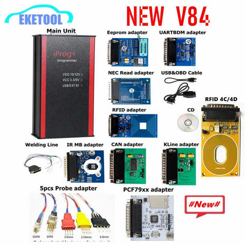 IProg Pro Programmer V84 Penuh Adapter Opsional Probe Adaptor PCF79XX RFID 4C Mengganti Carprog/Digiprog/Tango IMMO Jarak Tempuh kantong Udara